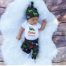 Infant Baby Cotton Outfit Newborn Hat Romper Pants First Christmas Set Clothes