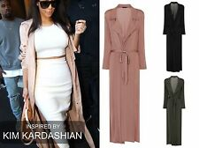 CELEB SLINKY MAXI LONG SLEEVES BELTED DUSTER JACKET COAT UK SIZE 8 -14