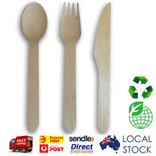 100 pcs x Wooden Disposable Party Event Tableware Cutlery - Knife / Fork / Spoon