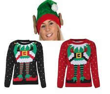Ugly Elf Body Christmas Xmas Knitted Jumper Sweater & Plush Elf Hat With Ears