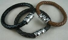 Men's Thick Leather Bracelet 316L Stainless Steel Locking Magnetic Clasp