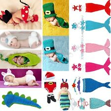 Newborn Cute Baby Boy Girl Crochet Christmas Costume Hat Outfit Set Clothes Gift