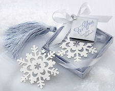 NEW Chic Cute Snowflake Creative Exquisite Alloy Bookmarks With Ribbon Box Gift