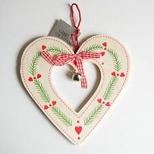 Gisela Graham Christmas Nordic Red White Green Bell Heart Star Wooden Decoration