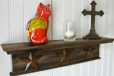 "Wall Shelf Wall Mounted Rustic Solid Wood 18"" With Stars Chose Your Color"