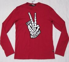 LOVE MOSCHINO Mens THUMBS UP Red Long-Sleeve Crewneck T-Shirt Size S-M