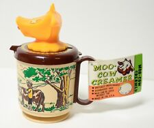 Vintage Moo Cow Creamer Farm boy Plastic Child's Toy Cup with Tag Whirley