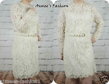 NEXT NEW CREAM VINTAGE LACE BELTED LONG SLEEVE LACE DRESS UK 14