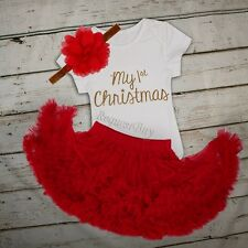 Red 3PCS My First Christmas Baby Girl Romper Fancy Tutu Dress Outfit Clothes