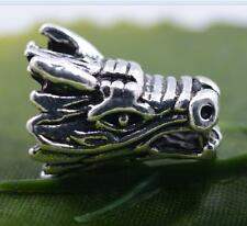 Wholesale 3pcs/10pcs tibet silver dragons head Charm Spacer beads 15X12mm#A5527