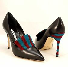 MANOLO BLAHNIK Black Leather Stiletto Bi-Color Striped High Heel Pointed Toe New
