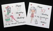 Handmade Personalised Teenage Girl Cards 9 10 11 12 13 14 15 16 17 any name