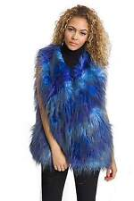 Ladies Womens Sleeveless Multi Colour Patch Faux Fur Long Hair Gilet Waistcoat