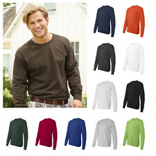 Hanes Mens Cotton Long Sleeve T-Shirt Tagless Crew Neck Tee S-3XL - 5586