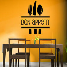 Bon Appetite Cutlery Food Quotes & Slogans Wall Sticker Kitchen Decor Art Decals