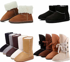 Xmas Women's Girls Winter Warm Suede Fur Lined Mid-calf Snow Flat Short Boots Sz