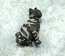VINTAGE Signed Swarovski CLEAR & GUNMETAL CRYSTAL CAT BROOCH PIN
