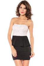 Roses Lace Peplum Dress White Club Night Club Summer Autumn Patchwork Strapless