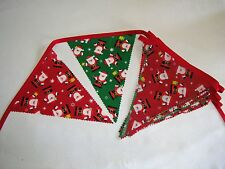 Hand Made 10ft 13 Flag Christmas Fabric Bunting Garland Ceiling Decoration