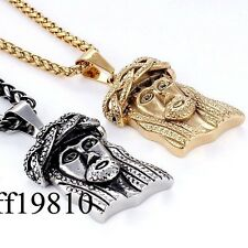 Jesus Head Mens Stainless Steel Pendant Necklace Wheat Chain Silver/Gold Tone