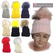 GIRLS KIDS WARM KNITTED COLOURED FAUX FUR POM POM WINTER BOBBLE BEANIE HAT