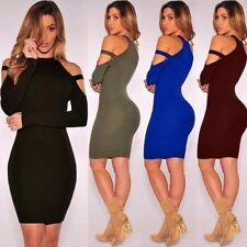 Winter Women Sexy Bandage Bodycon Off Shoulder Long Sleeve Clubwear Party Dress
