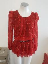 NEW Ladies Red & Black Top/Blouse with Belt - Approx Sample Size 8-10