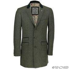 Mens Retro Green Long Overcoat Wool Mix Herringbone Tweed Trench Winter Jacket