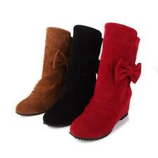 New Fashion Womens Faux Suede Bowknot Shoes Wedge Low Heel Lolita Ankle Boots AU