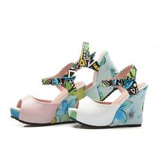 New Fashion Womens Peep Toes Shoes Platform Wedges High Heels Strap Sandals Size