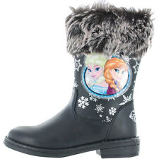 Frozen Camelia Elsa & Anna Disney Girls Kids Boots - Black (7,8,9,10,11,12,13)