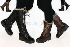 LADIES WOMENS' PLATFORM FUR LINED LACE UP KNEE HIGH BOOTS ANKLE BOOTS SHOES SIZE