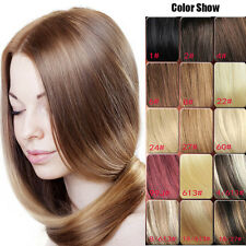 "CLIP IN REAL HUMAN HAIR EXTENSIONS 7PCS FULL HEAD 15 COLORS 18""-30"""