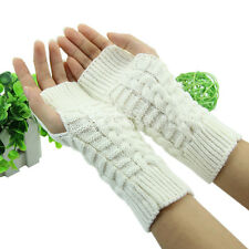 Hot Warm Women's Men's Long Knitted Crochet Fingerless Braided Arm Warmer Gloves