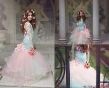 Pink Mermaid Flower Girl Gowns Formal Pageant Birthday Party Prom Dresses Age10+