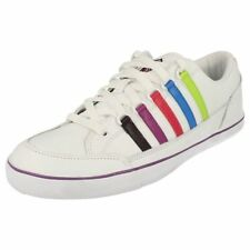 LADIES WHITE LEATHER LACE UP K-SWISS TRAINERS- SURF AND SAND