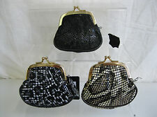 LADIES SNAKE EFFECT / PRINT COIN PURSE WITH GOLD COLOURED CLASP 72306