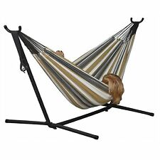 Vivere Double Fabric Double Hammock with Steel Stand