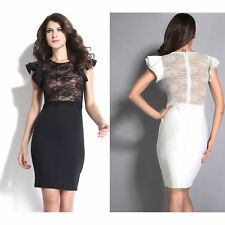 Women Black Sheer Lace Evening Dress Celebrity Backless Club Sexy Night Zip