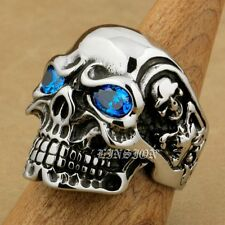 Blue CZ Eyes 316L Stainless Steel Titan Skull Mens Biker Rock Punk Ring 3A201E