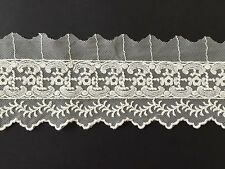 10cm wide White  Bilateral Handicrafts Embroidered Net Lace Trim Ribbon