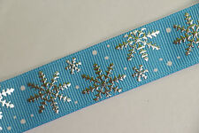 Reel Chic 16mm Blue Grosgrain Silver Snowflake FROZEN Style Ribbon - CHRISTMAS