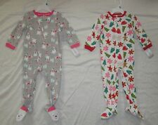 NWT Infant Baby Girls CARTERS 2 Christmas & Snowman Pajamas Sleepers 24 months