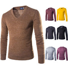 Men's Casual T-shirt Slim Fit V-neck Knit Cardigan Pullover Jumpers Sweater Tops