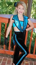 Black Turquoise custom competition dance costume jazz tap musical theater CM CL
