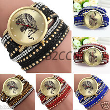 Women's Quartz Elephant Crystal Rivet Braided Winding Wrap Wrist Watch Bracelet