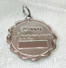 Vintage Jeanor Sterling Silver Happy Anniversary Charm Engraveable