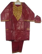 Traditional Brocade Pant Set African Men Dashiki Boho Suit Plus Size Wine Gold