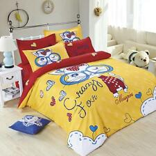Twin Queen King Bed Set Pillowcase Quilt Duvet Cover Yellow Cute Cat Ous