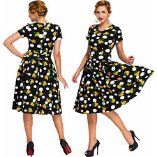 Women Dot Floral Print Keyhole Vintage Swing Dress Stage Dance Brief Cute Club